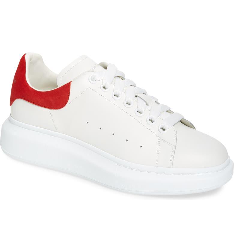 ALEXANDER MCQUEEN Oversize Low Top Sneaker, Main, color, WHITE/ LUST RED