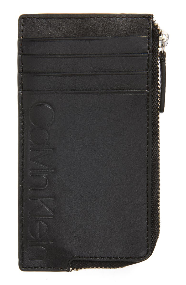 CALVIN KLEIN Zip Faux Leather Card Case, Main, color, BLACK
