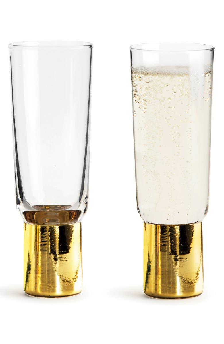 SAGAFORM Set of 2 Gold Champagne Glasses, Main, color, CLEAR/ GOLD