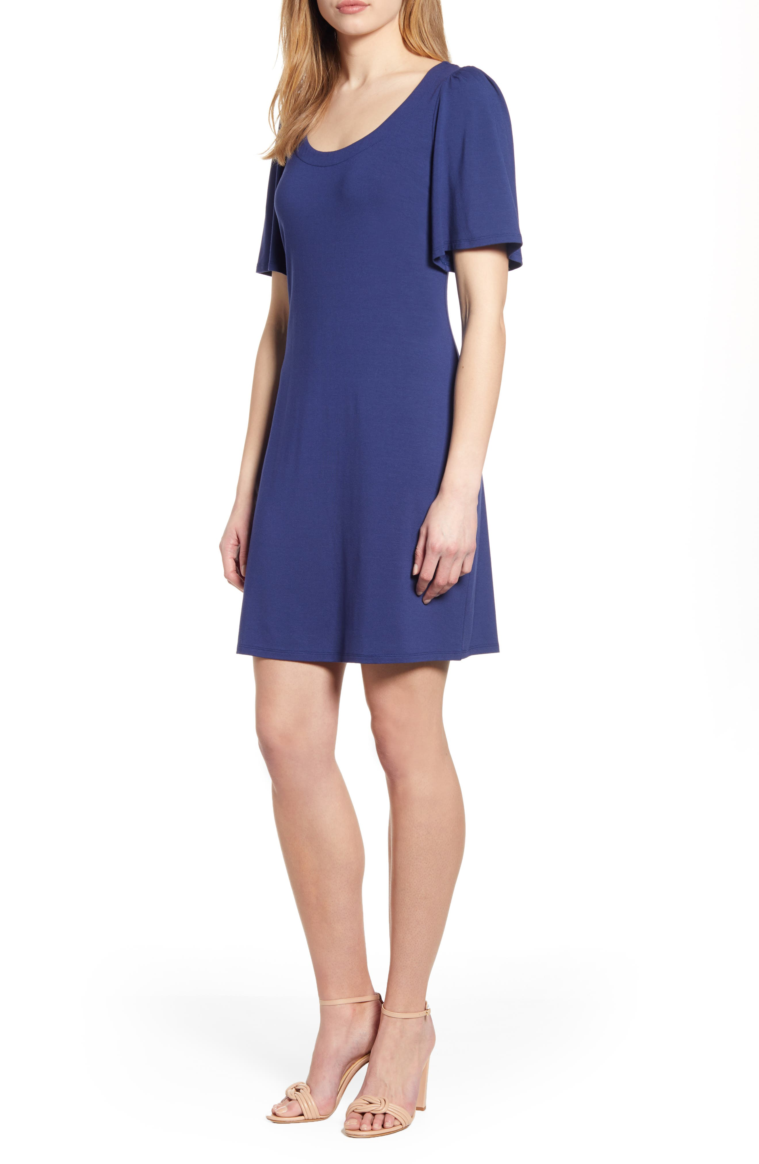 Tommy Bahama Tambour Short Sleeve Stretch Cotton Sheath Dress, Blue