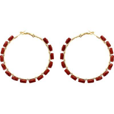 Panacea Rectangle Crystal Hoop Earrings