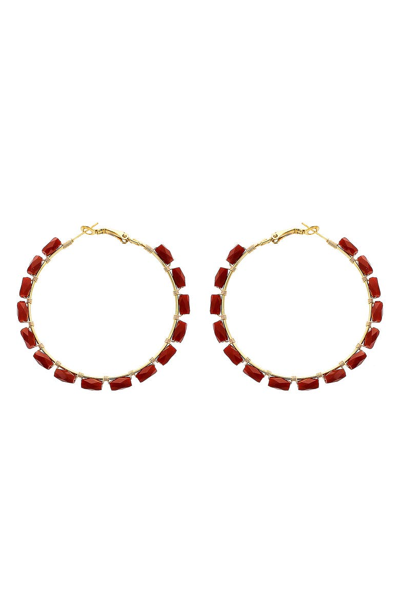 PANACEA Rectangle Crystal Hoop Earrings, Main, color, BURGUNDY
