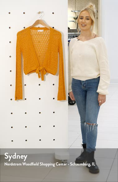 New Delhi Tie Front Bell Sleeve Sweater, sales video thumbnail