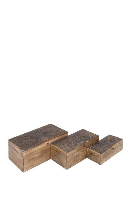 Image of Willow Row Brown Mango Wood Rustic Box - Set of 3