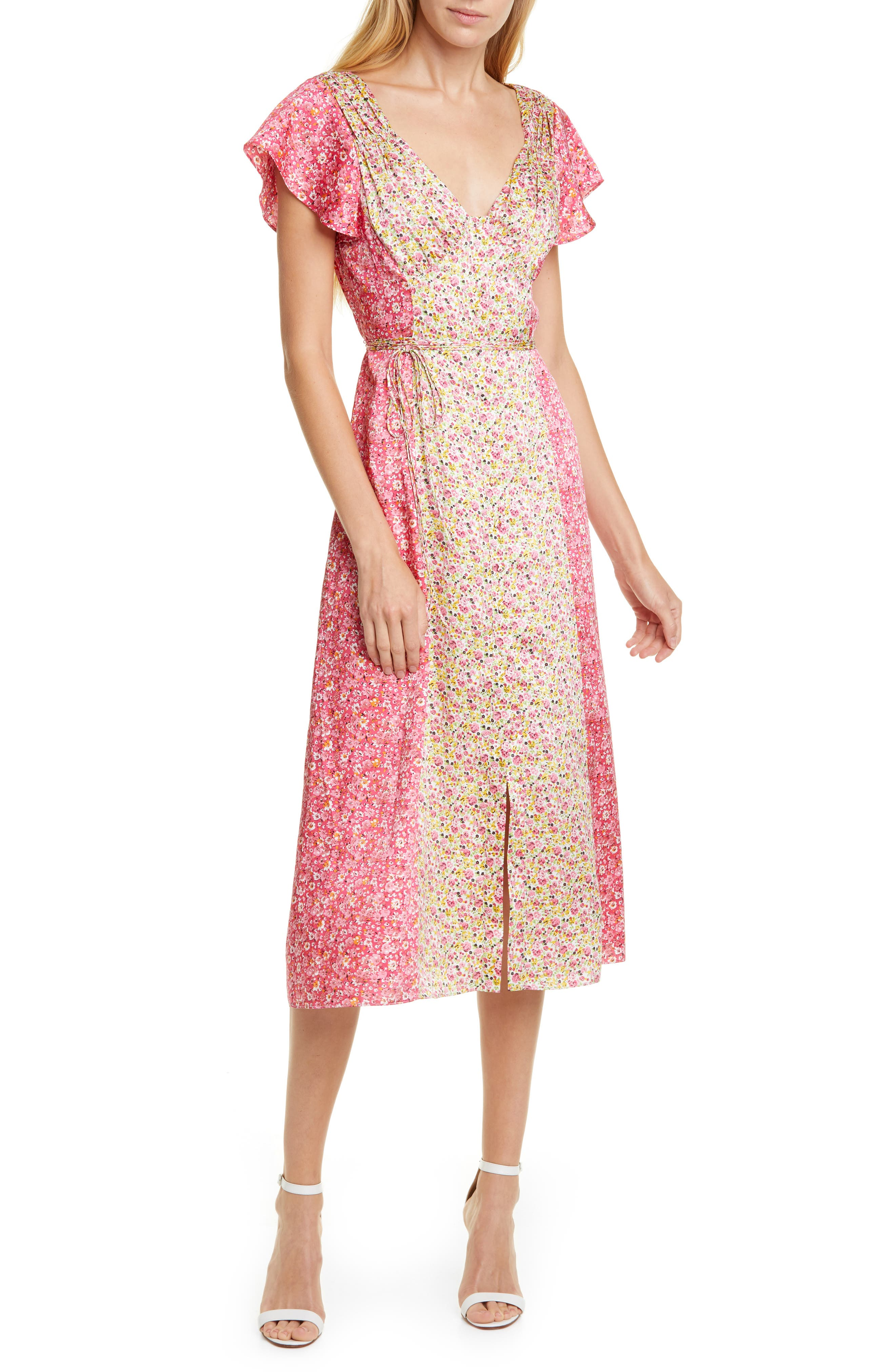 Cinq A Sept Jessica Floral Stripe Midi Dress, White