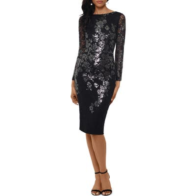 Xscape Sequin Lace Long Sleeve Cocktail Dress, Black