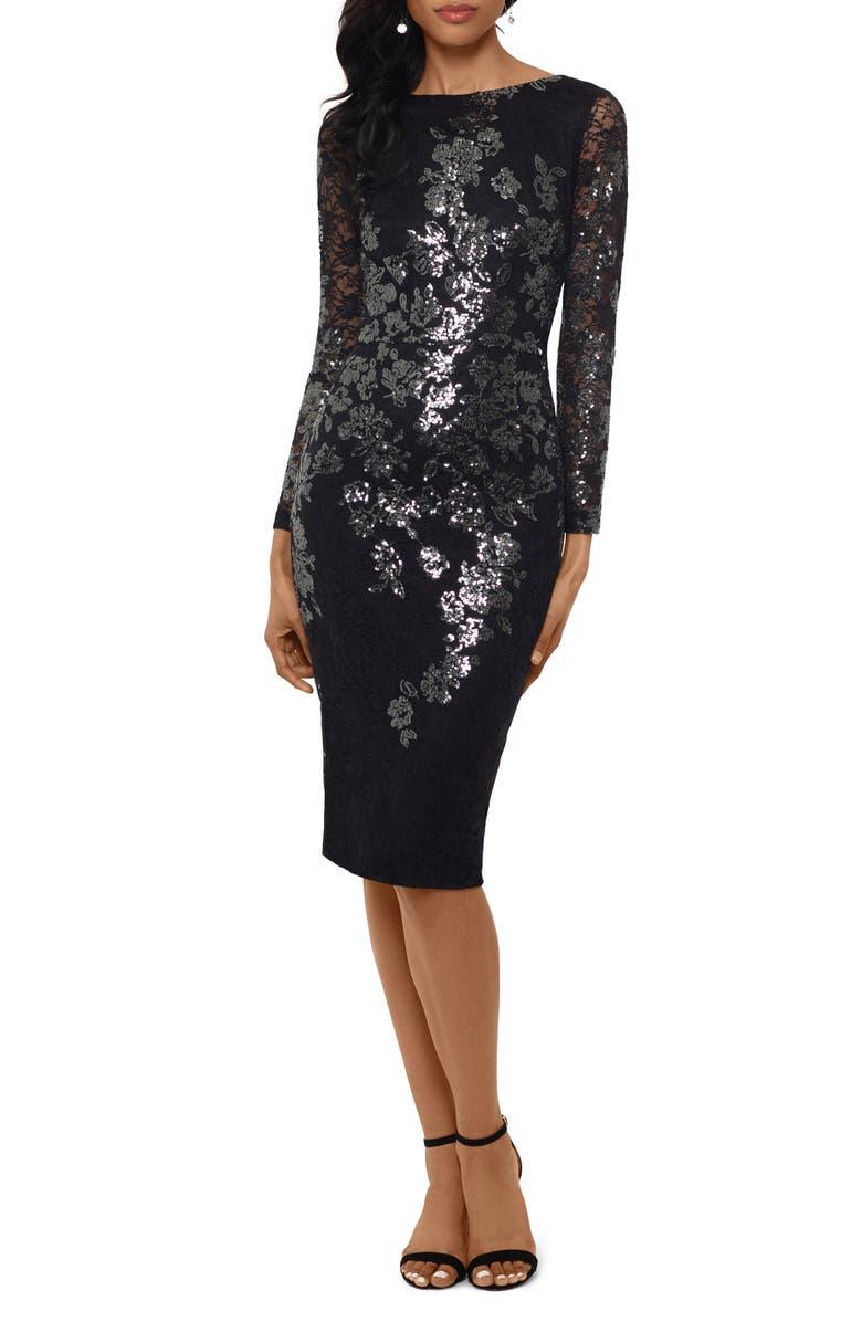 XSCAPE Sequin Lace Long Sleeve Cocktail Dress, Main, color, BLACK/ GUNMETAL