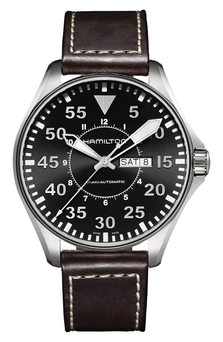 HAMILTON Khaki Aviation Automatic Leather Strap Watch, 46mm, Main, color, 200
