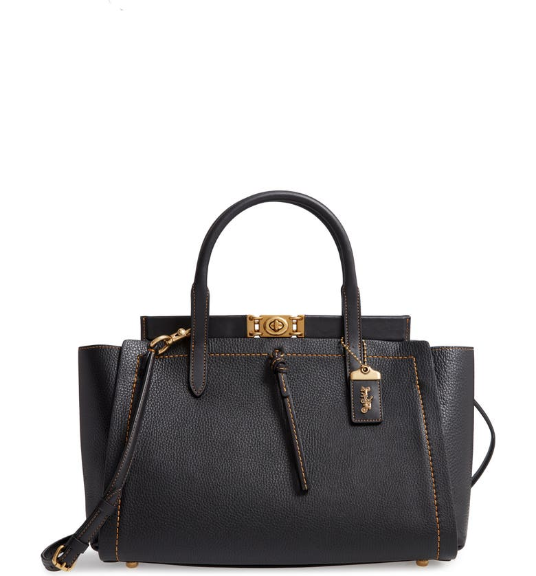 COACH Troupe Leather Carryall, Main, color, B4/ BLACK