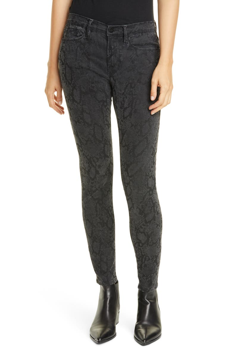 FRAME Le Skinny de Jeanne Python Print Jeans, Main, color, 020