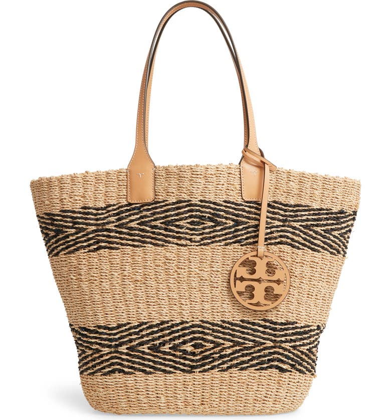 TORY BURCH Miller Stripe Straw Tote, Main, color, 005