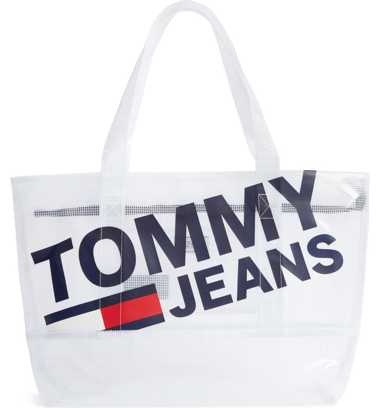 TOMMY JEANS Summer Mesh Tote, Main, color, CLASSIC WHITE