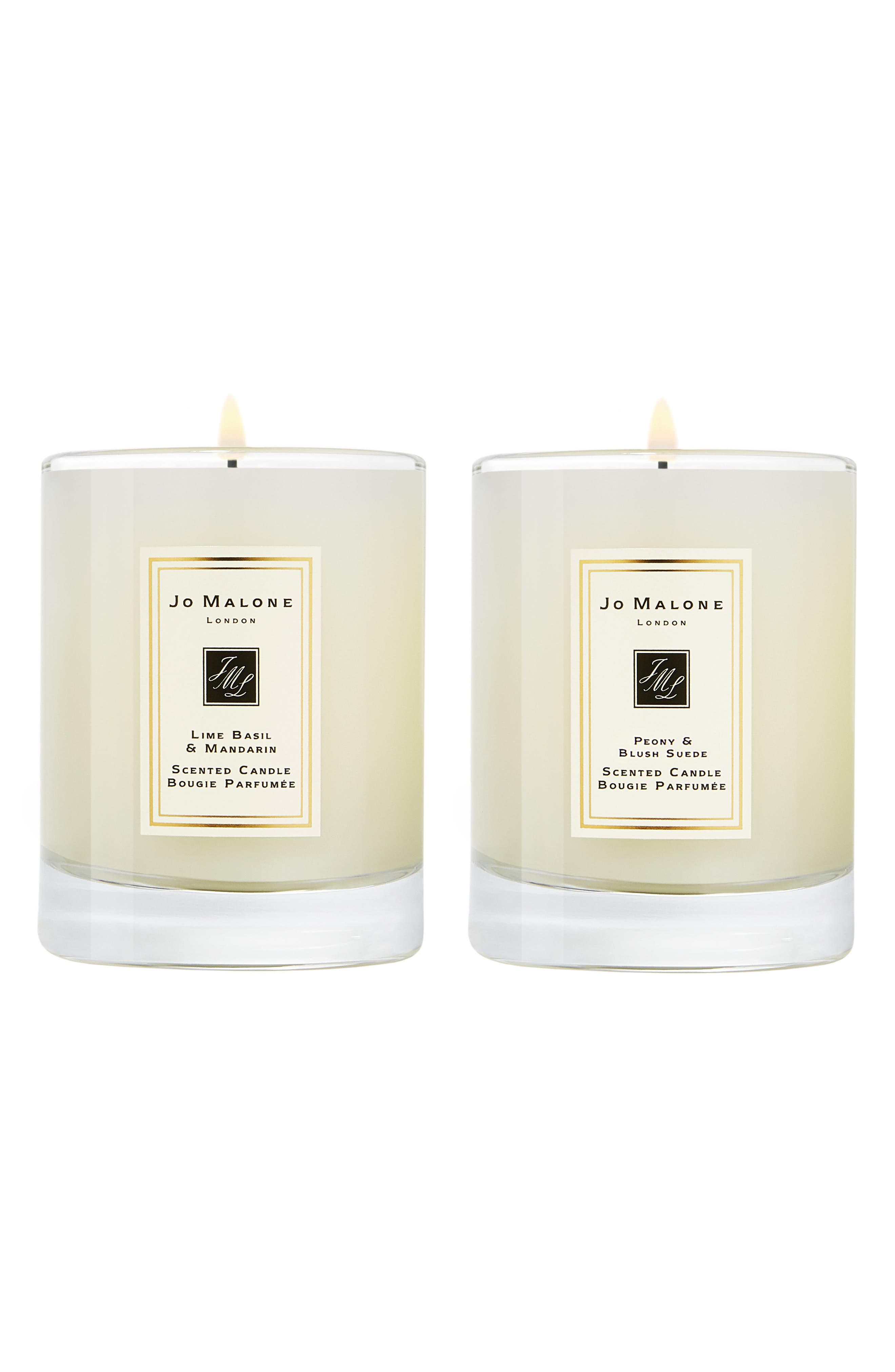 ,                             Lime Basil & Mandarin and Peony & Blush Suede Travel Candle Duo,                             Main thumbnail 1, color,                             000