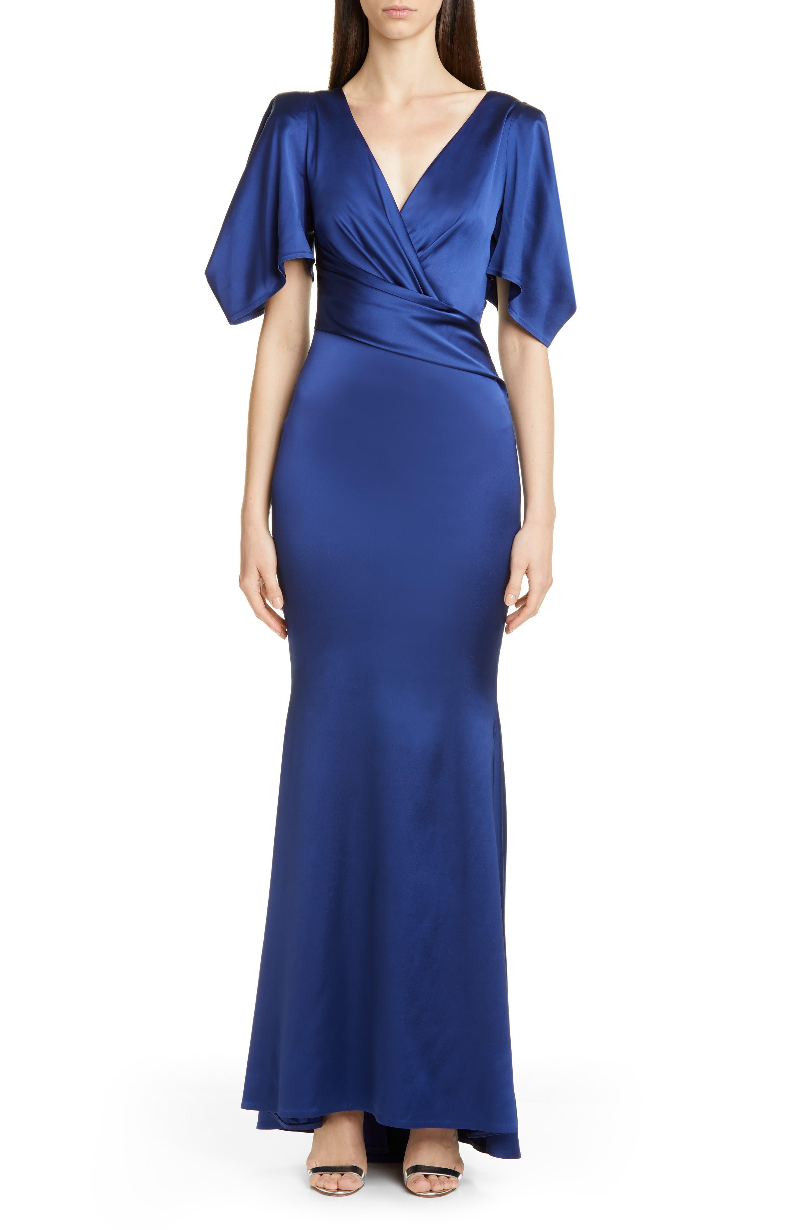 Talbot Runhof Flutter Sleeve Crepe Back Satin Gown, Blue