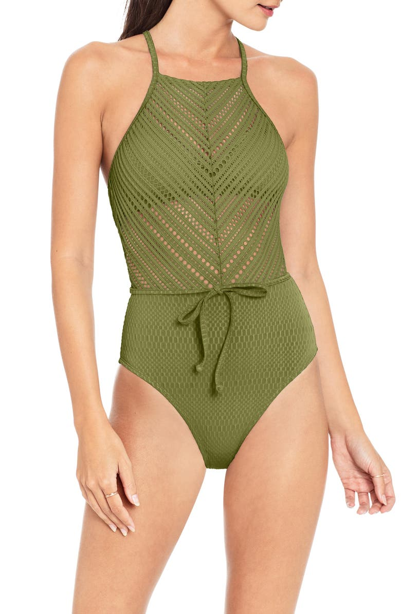 ROBIN PICCONE Perla High Neck One-Piece Swimsuit, Main, color, MOSS