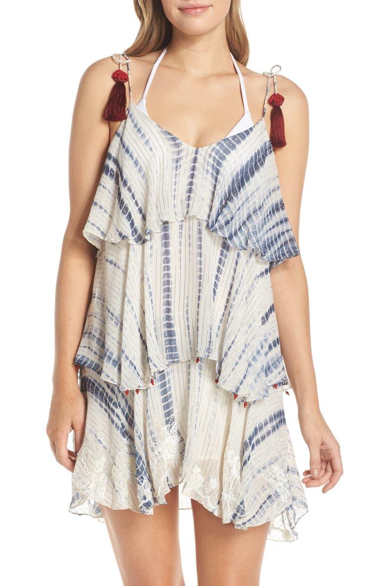 HEMANT & NANDITA Maera Tiered Cover-Up Dress, Main, color, WHITE/ BLUE