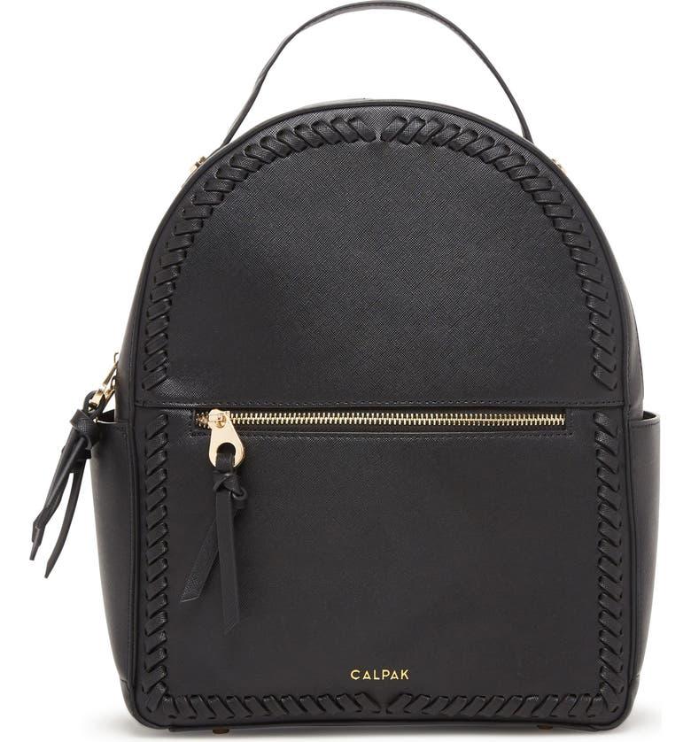 CALPAK Kaya Faux Leather Round Backpack, Main, color, BLACK