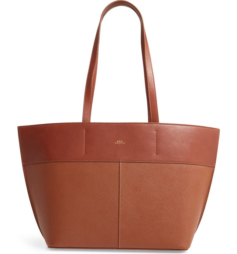 A.P.C. Small Totally Leather Tote, Main, color, NOISETTE