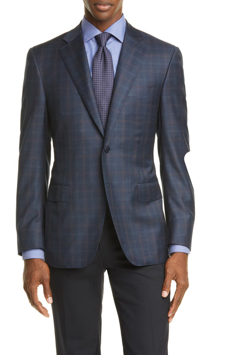 CANALI Sienna Soft Classic Fit Plaid Wool Sport Coat, Main, color, NAVY