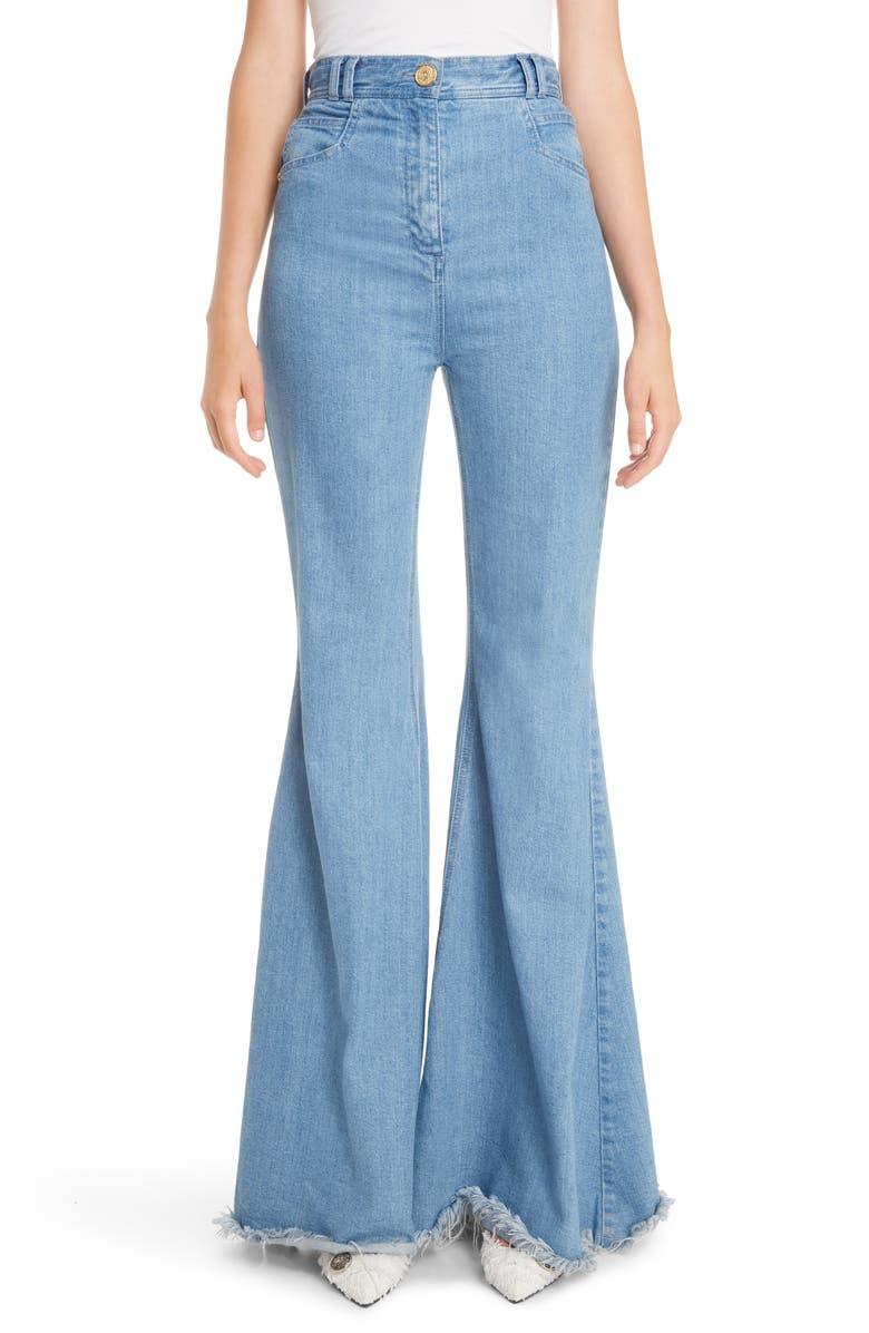 BALMAIN High Waist Frayed Hem Flare Jeans, Main, color, 400