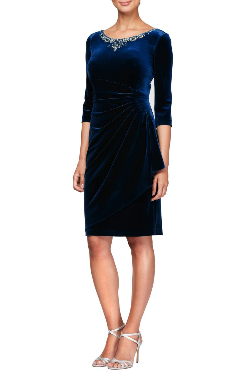 ALEX EVENINGS Beaded Side Ruched Velvet Cocktail Dress, Main, color, IMPERIAL