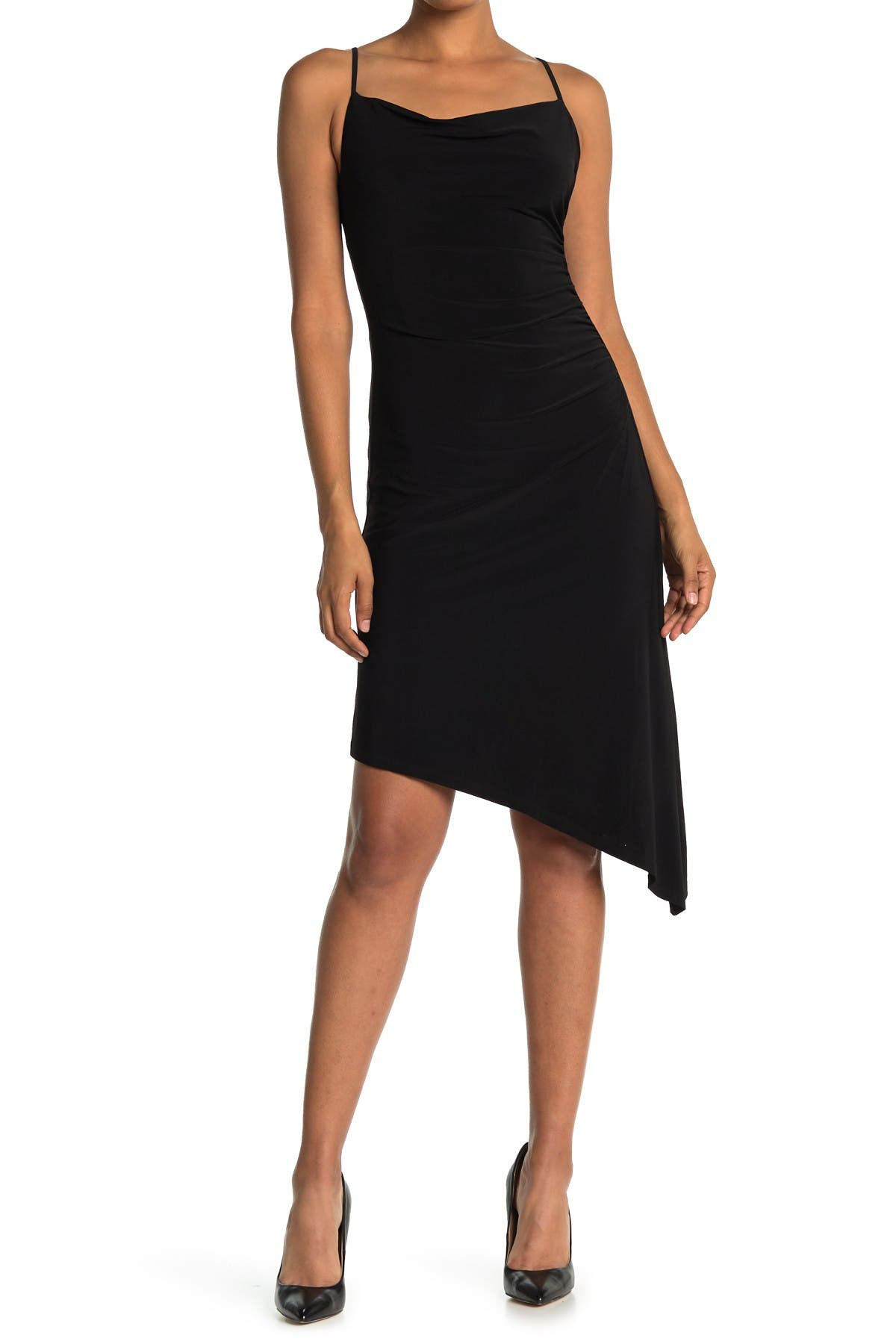 Image of Laundry By Shelli Segal Asymmetrical Cowl Neck Slip Dress
