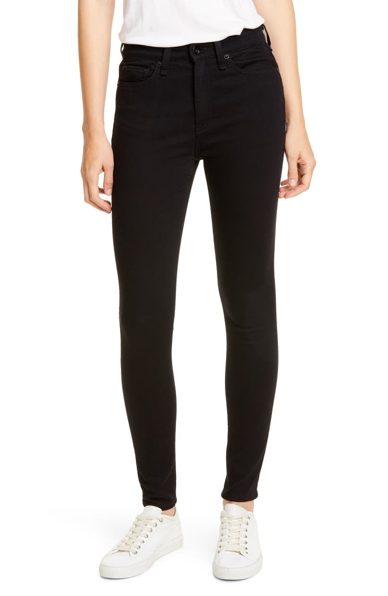 Rag Bone Nina High Waist Ankle Skinny Jeans No Fade Black