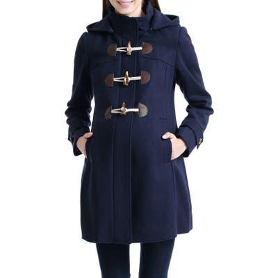 Kimi And Kai Paisley Wool Blend Maternity Duffle Coat, Blue