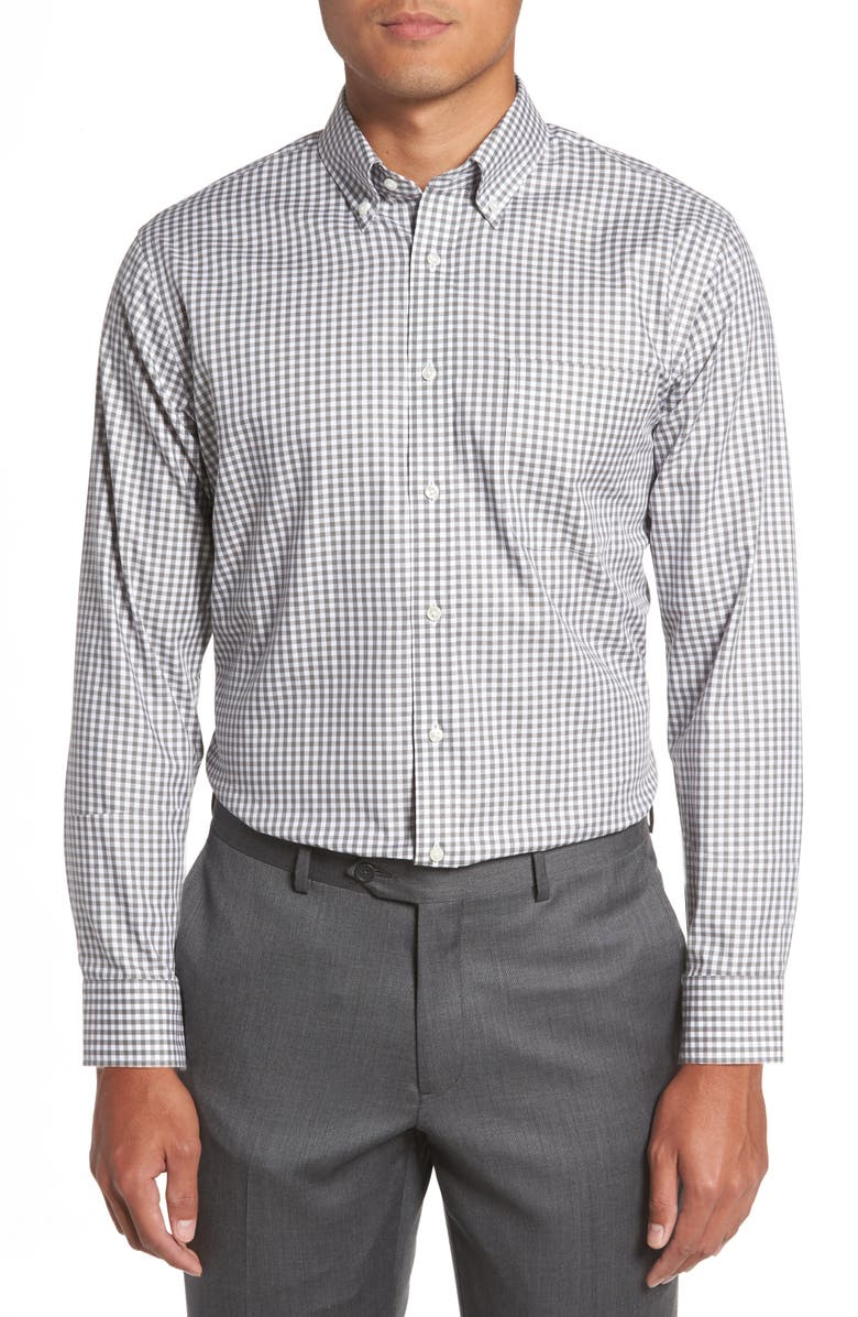 NORDSTROM MEN'S SHOP Trim Fit Non-Iron Gingham Dress Shirt, Main, color, GREY- CASTLEROCK