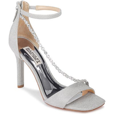 Badgley Mischka Erika Crystal Cross Strap Sandal, Metallic