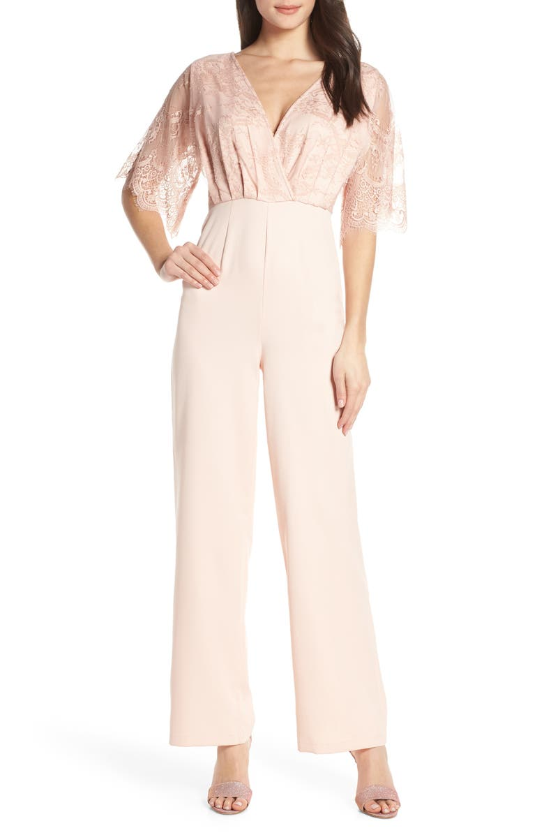 CHI CHI LONDON Kiera Lace Bodice Jumpsuit, Main, color, PINK