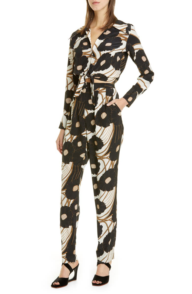RACHEL COMEY Luana Floral Print Jumpsuit, Main, color, BLACK