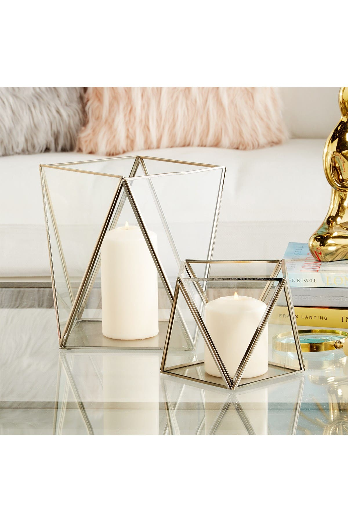 Image of CosmoLiving by Cosmopolitan Clear/Gray Modern Geometric Candle Holder - Set of 2