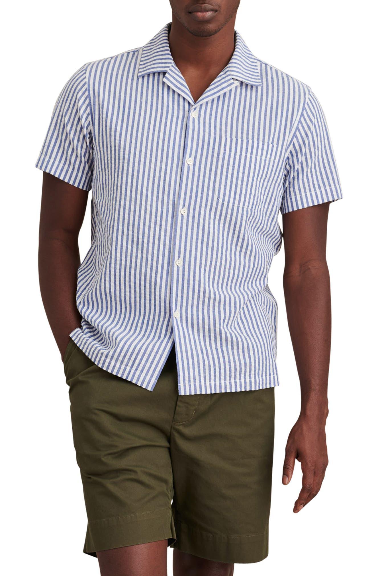 Stripe Short Sleeve Seersucker Button-Up Camp Shirt