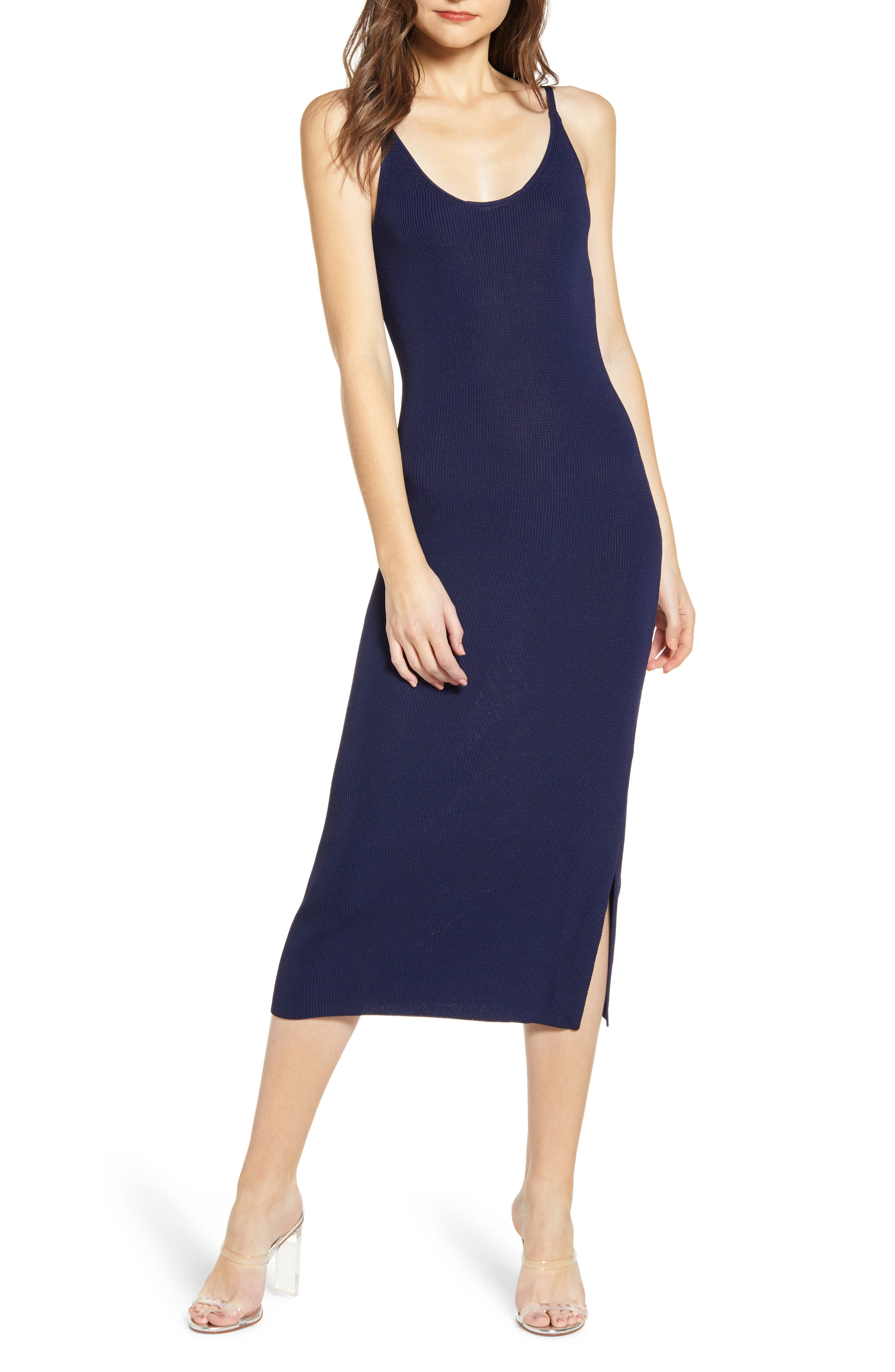 Leith Sweater Strap Dress, Blue
