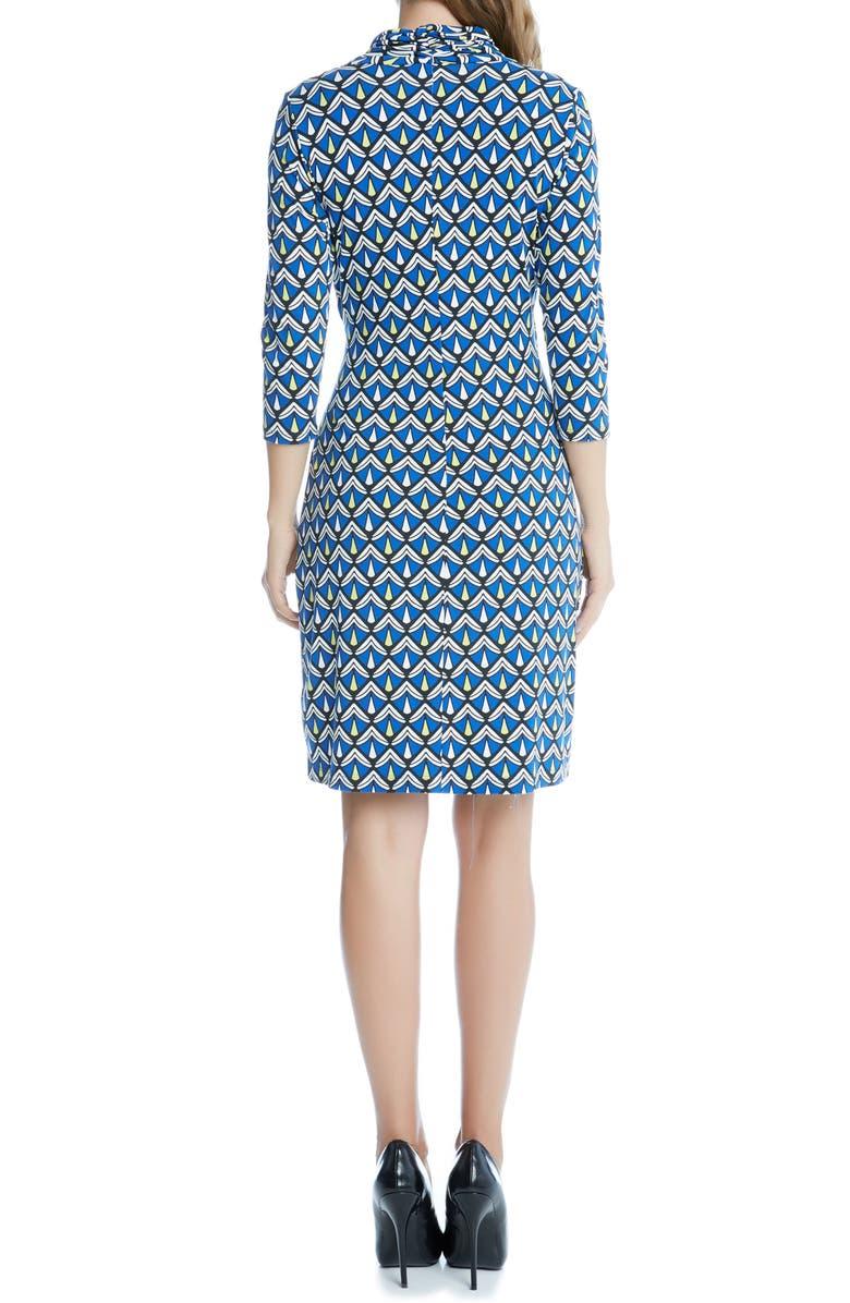 KAREN KANE Print Cascade Faux Wrap Jersey Dress, Main, color, 460