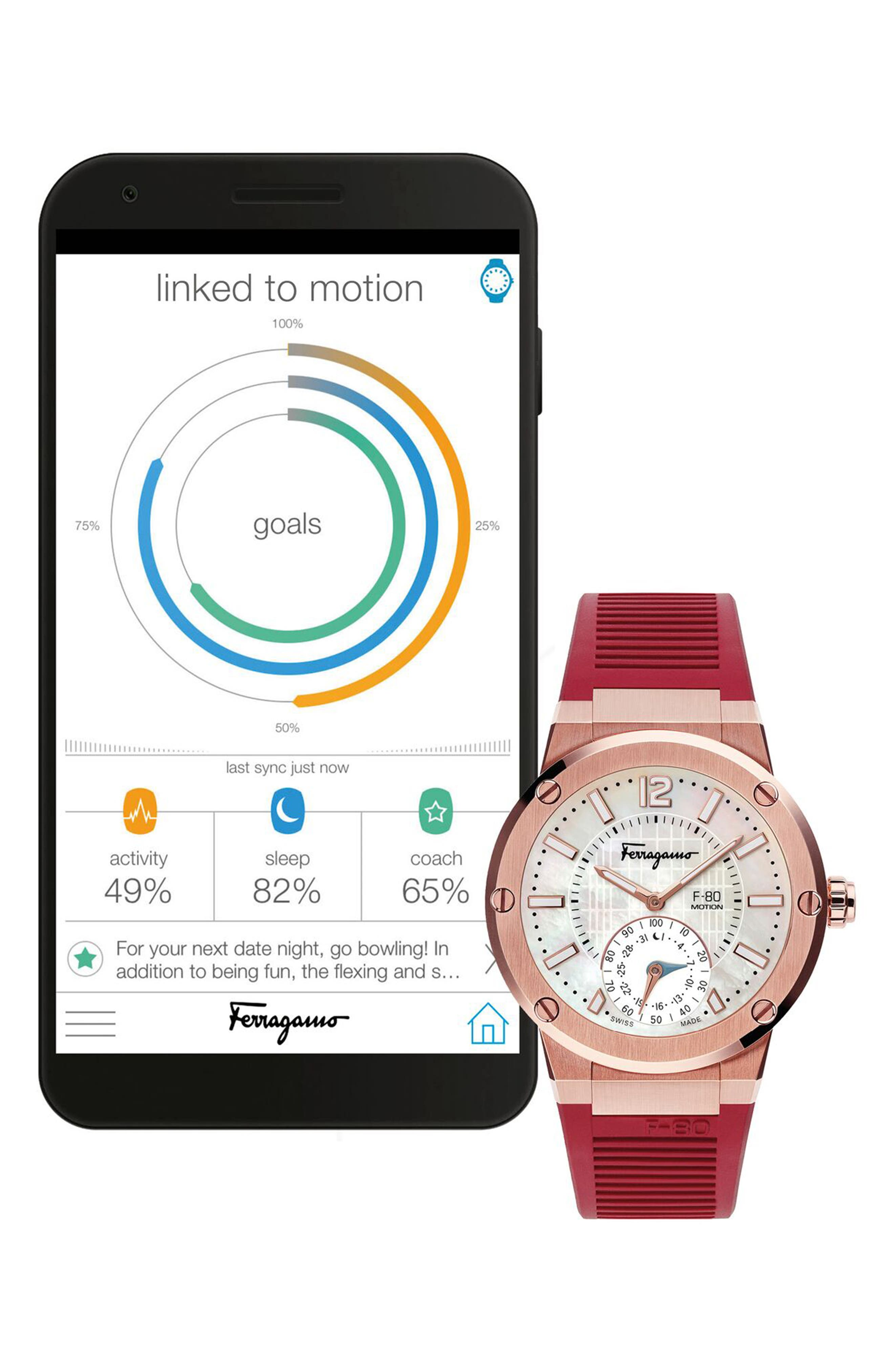 ,                             F-80 Motion Rubber Strap Smart Watch, 44mm,                             Alternate thumbnail 4, color,                             BURGUNDY/ WHITE MOP/ ROSE GOLD