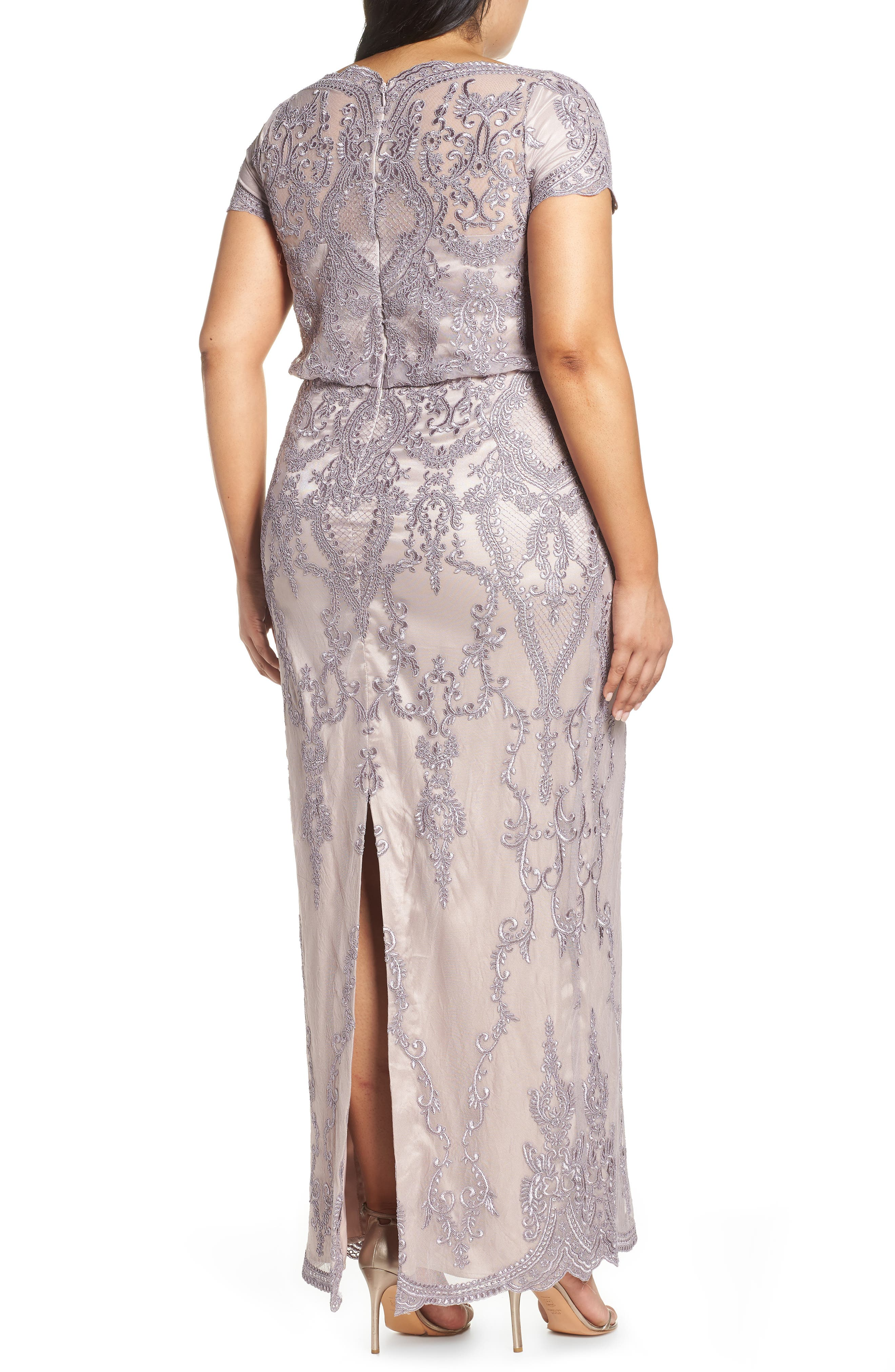 ,                             Scallop Embroidered Blouson Evening Dress,                             Alternate thumbnail 2, color,                             DUSTY LAVENDER