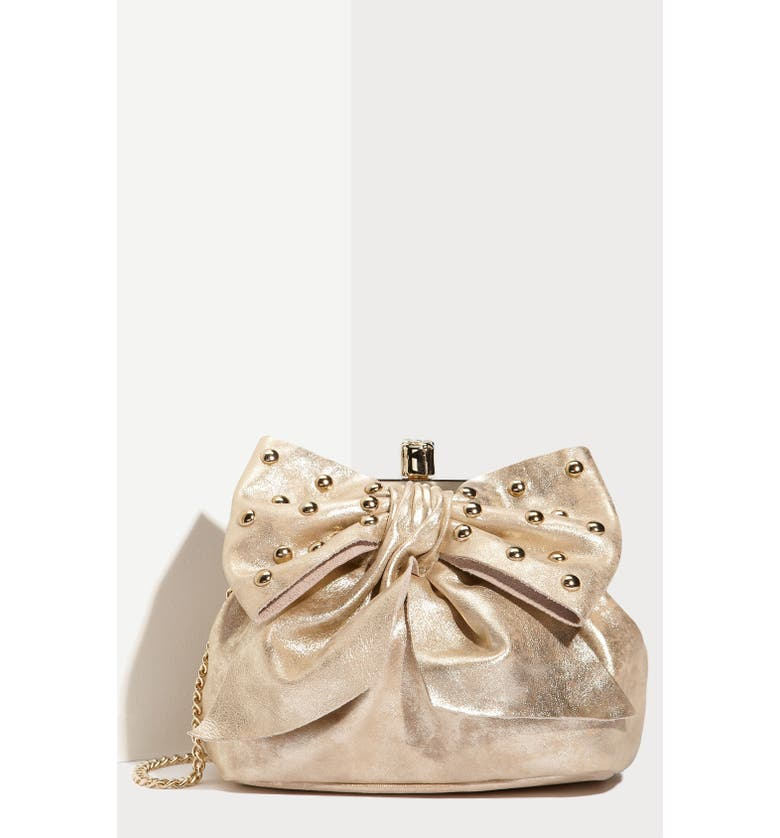 RED VALENTINO 'Studded Bow' Metallic Vachetta Leather Clutch, Main, color, 710