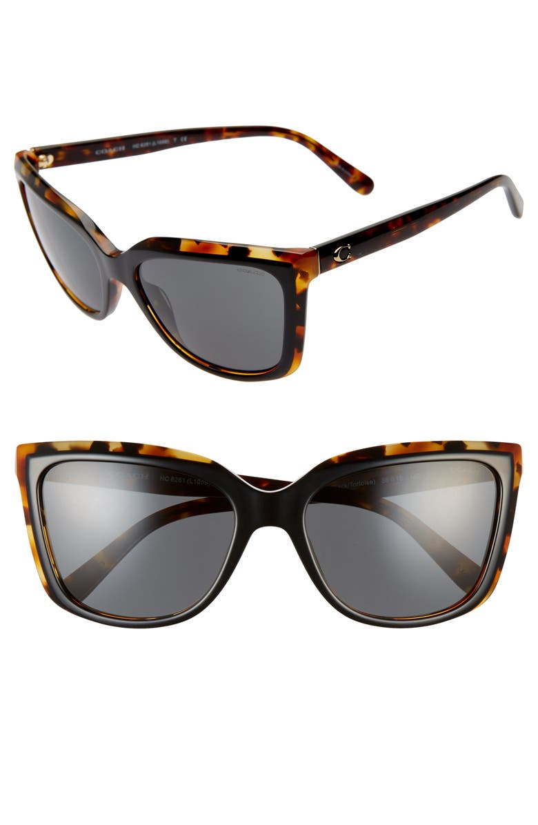 COACH 56mm Cat Eye Sunglasses, Main, color, TORTOISE BLACK/ BLACK SOLID