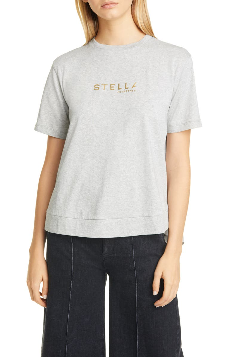 STELLA MCCARTNEY Logo Cotton Tee, Main, color, GREY MELANGE LT GREY