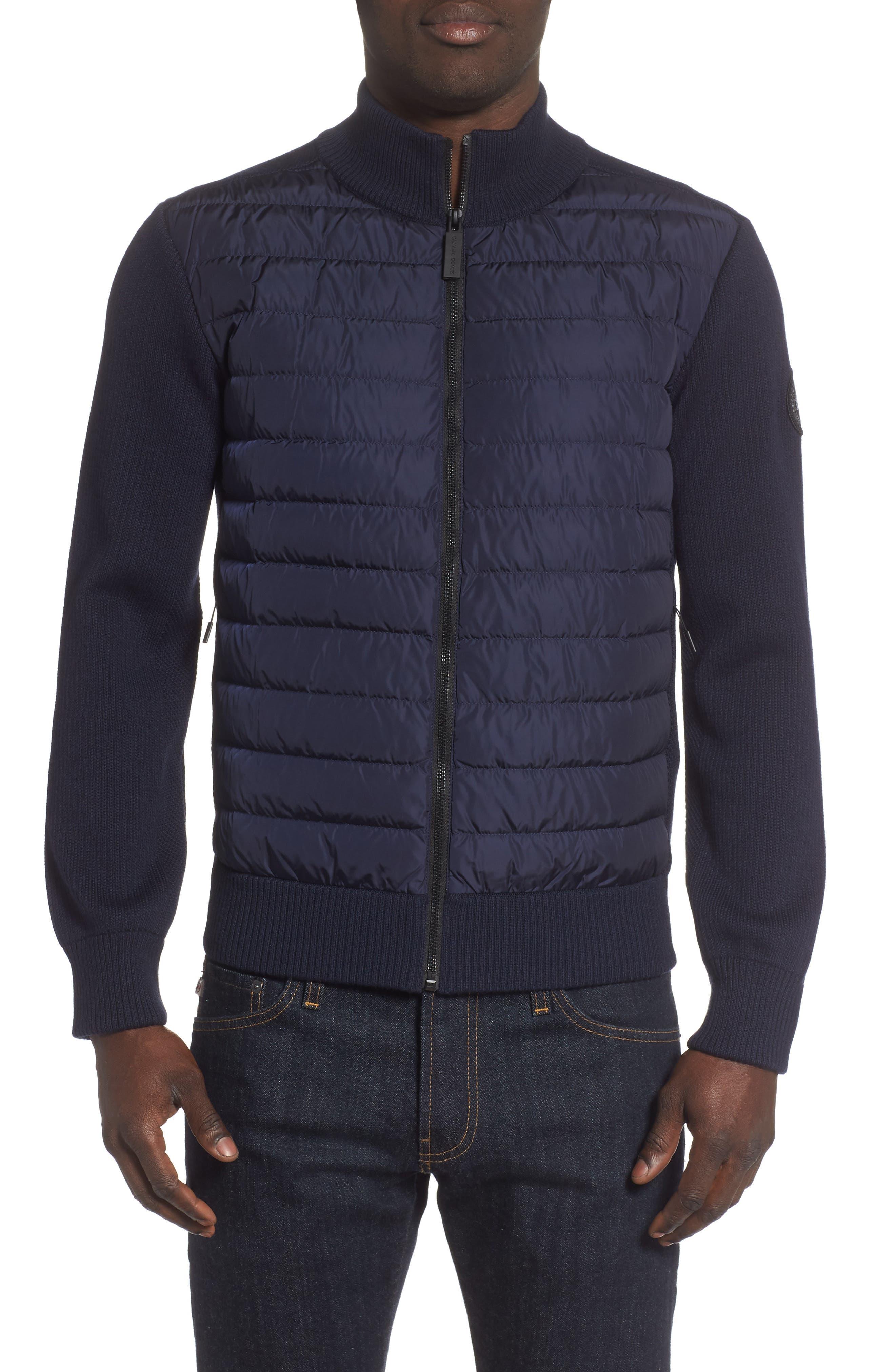 Canada Goose Hybridge Slim Fit Down Front Knit Jacket, Blue