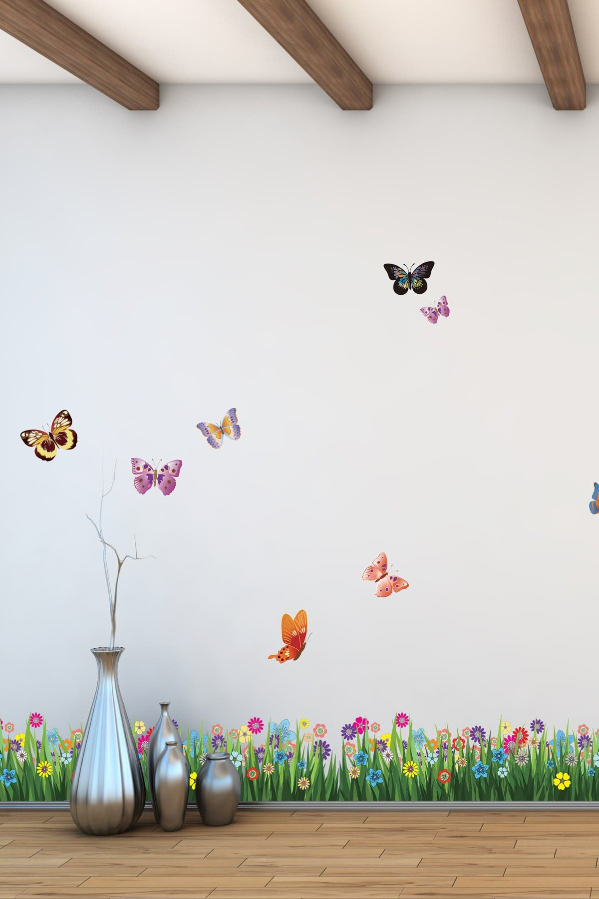 Image of WalPlus Colorful Butterfly Grass Wall Sticker