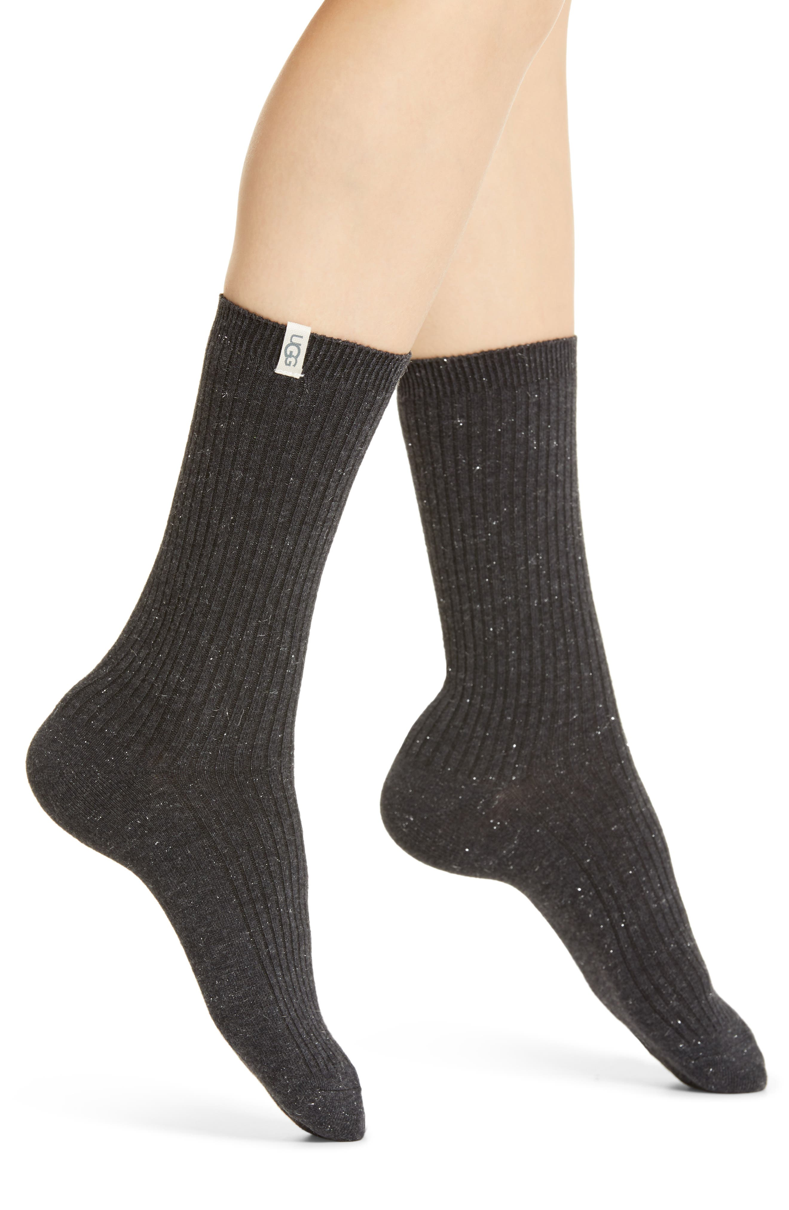 Metallic threads bring subtle shimmer to soft, stretchy ribbed socks made with reinforced heels and toes for durability. Style Name: UGG Leilani Sparkle Crew Socks. Style Number: 6106363. Available in stores.