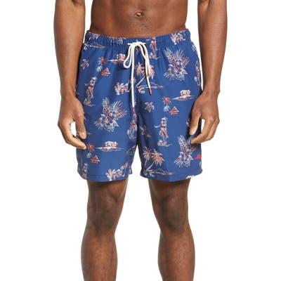 Tommy Bahama Naples Hula Hut Classic Fit Swim Trunks, Blue