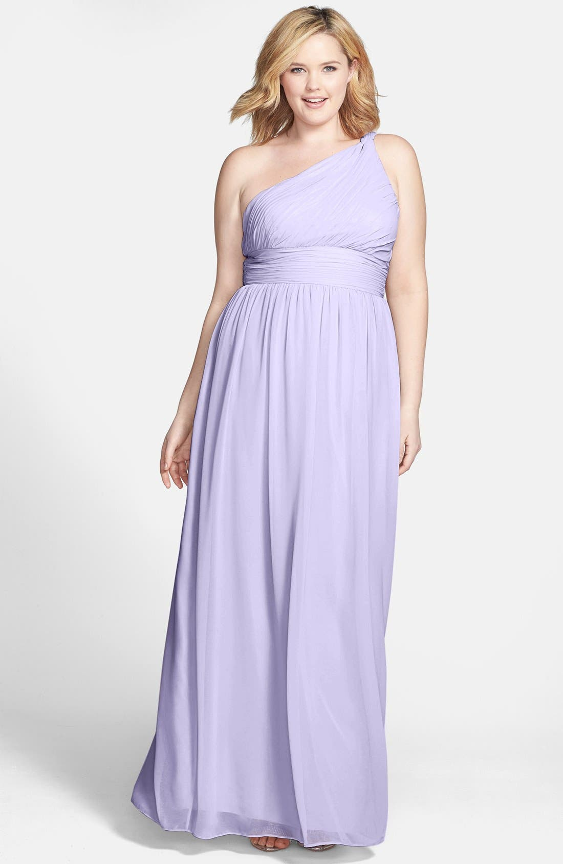 ,                             'Rachel' Ruched One-Shoulder Chiffon Gown,                             Alternate thumbnail 90, color,                             527