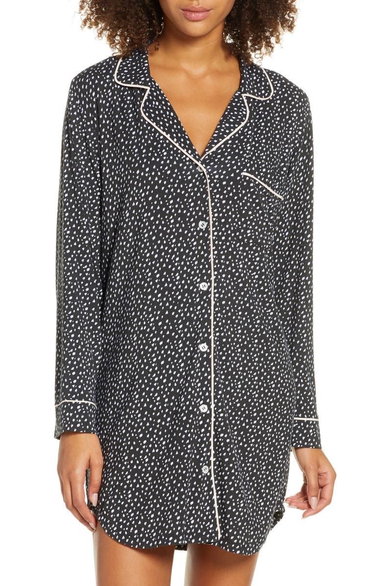 EBERJEY Sleep Chic Sleep Shirt, Main, color, FELIX BLACK/BELLINI