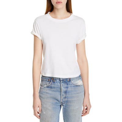 Re/done The 70S Rolled Sleeve Tee, White