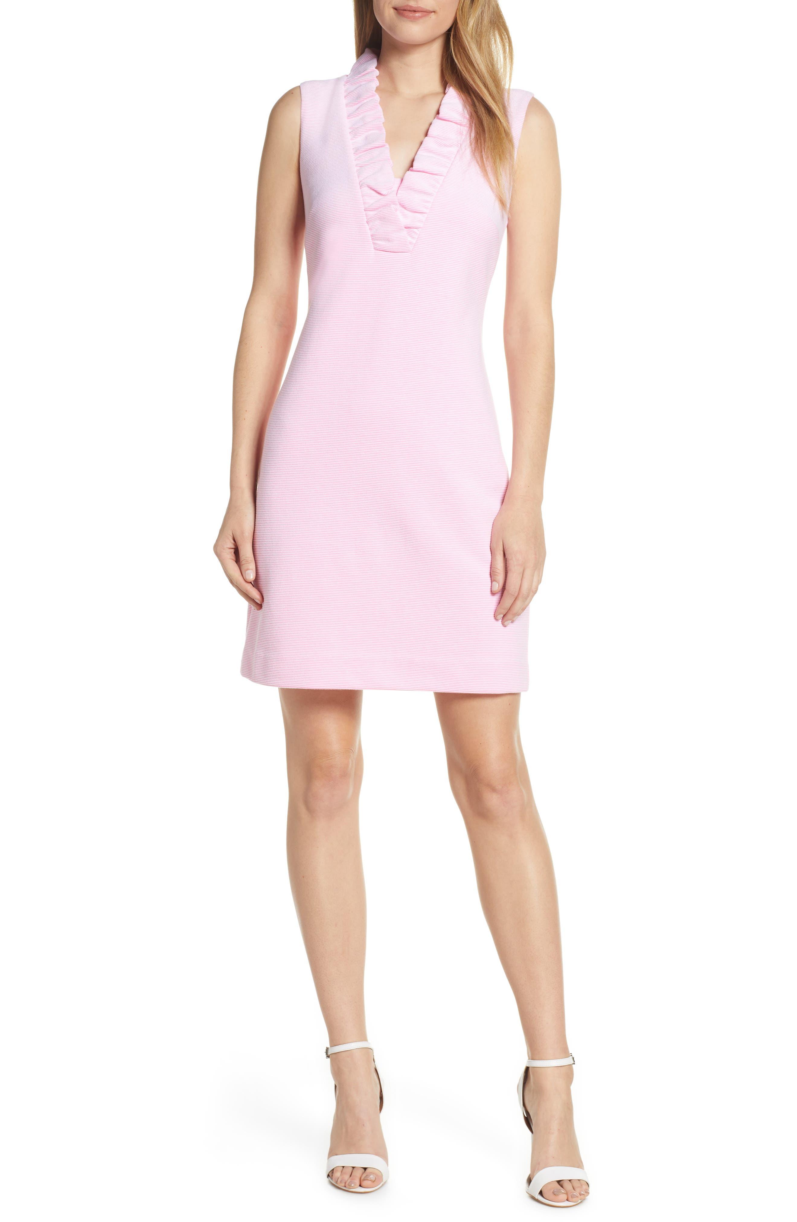 Lilly Pulitzer Tisbury Stripe Ruffle Neck Dress, Pink