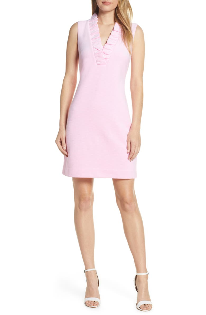LILLY PULITZER<SUP>®</SUP> Tisbury Stripe Ruffle Neck Dress, Main, color, PINK TROPICS LUCKY CATCH